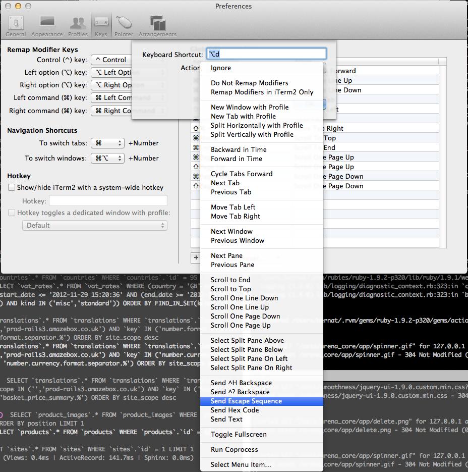 Mac OS X, iTerm and the meta key | Think In Geek